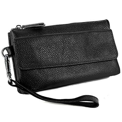 Yaluxe Borsa a tracolla Donna in vera pelle Borsa a polso per smartphone Portafoglio a con slot per schede di blocco RFID Nero
