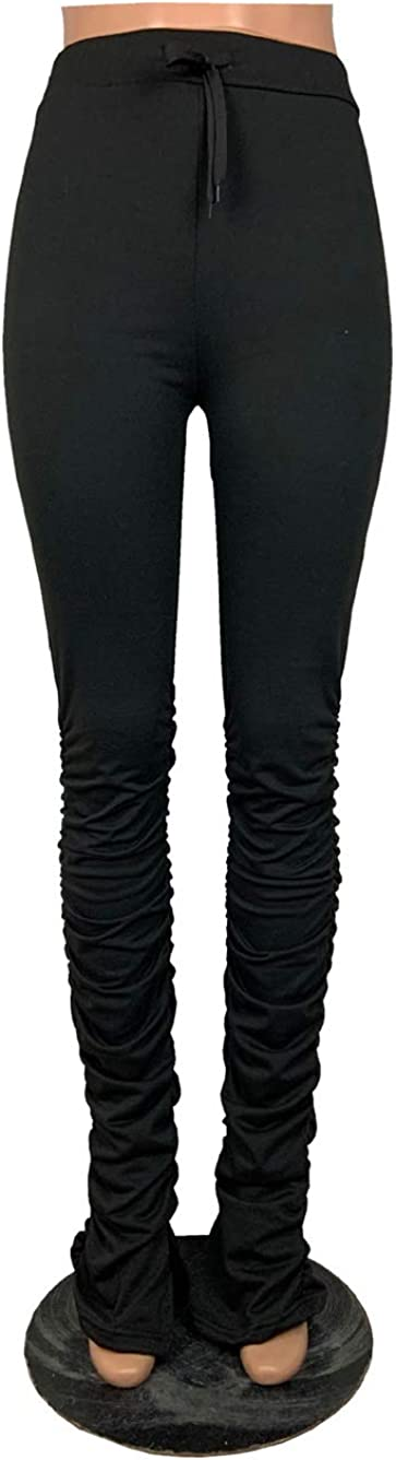 price Women Stacked Leggings Max 54% OFF Trousers Athletic Drawstring Ruched Yoga