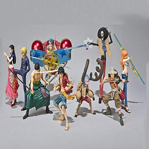 CXNY 9 unids/Set Franky Nami Robin Luffy Zoro Sanji Usopp Brook Chopper One Piece Anime Figuras de Accion de Coleccion PVC coleccion Juguetes