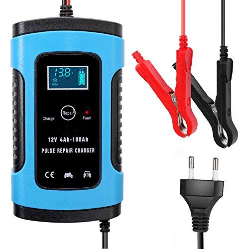 DXJ 12V 6A Cargador de batería Inteligente Completamente automático para Carga, Mantiene y reacondiciona Las baterias Coche, Remolque, Autocaravana