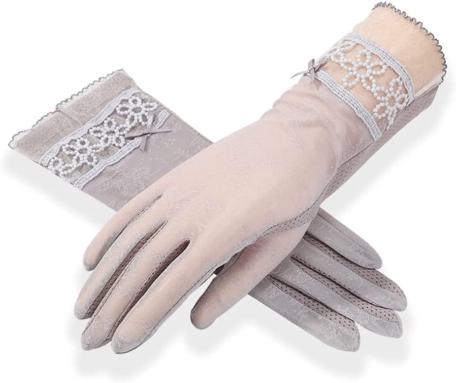 Rebily Women's Summer Thin, Beautifully Embroidered, Breathable, Outdoor Riding, Driving, Non-Slip, Female Touch Screen Lace Gloves, Short, White