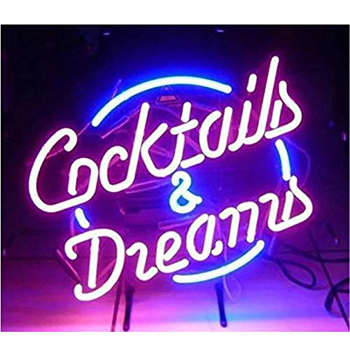 Cocktails and Dreams Glass Neon Signs Beer Bar Club Bedroom Glass Neon Lights Sign for Office Hotel Pub Cafe Wedding Birthday Party Man Cave Neon Light Art Wall Lights