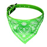 Pets First Dog Bandana Collar- Adjustable Pet Cat Neckerchief- 4 Sizes & 6 Colours Available (Green, Small (24-29cm))