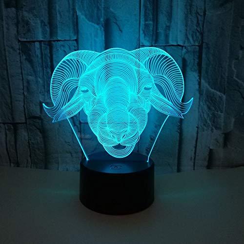Night Lamp,Tier Schaf Kopf 3D Licht Lamm 3D Bunte Touch Control Touch Led Visuelles Licht Usb Geschenk 3D Kleine Tischlampe