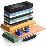 Knife Sharpening Stone Set, Finew Premium 4 Side Grit 400/1000 3000/8000 Water Stones, Non-slip Bamboo Base, Flatting Stone, Angle Guide, Leather Strop, Polishing Compound and Honing Guide