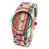 Bewell Handgemachte hölzerne Uhr Natürliche Bunte Bambus Quarz Analog Uhren Dame Bracelet W105DG (Mixed 1)
