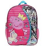 Peppa Pig Backpack for Girls for Kindergarten & Elementary School, 14 Inch, Flip Sequins & Glitter Bookbag with Padded Back & Adjustable Shoulder Straps, Lightweight Travel Bag for Kids