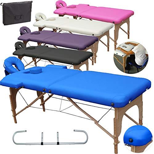 Mobile Massagetisch Massageliege Massagebank 2 zonen klappbar + Rollenhalter +TA. - Blau