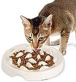HCHLQLZ Comedero Lento para Perros y Gatos,Comedero Perro Antivoracidad Cuenco,Mascotas Comedero,Cuenco de Alimentación Lento en Melamina, Antideslizante,Antiasfixia,Comida Lenta(Blanco)