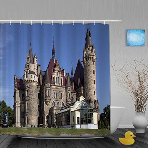 NISENASU Duschvorhang 180 * 180,Mode Polen Schloss bunter osteuropäischer grüner Baum Grünland Blauer Himmel,Wasserabweisend Shower Curtain mit 12 Duschvorhangringen