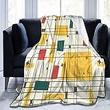 HUAYEXI Flanell Fleece Soft Throw Decke,Mid Century Modern (Gold),für Sofas Sofa Stühle Couch Leicht,warm und gemütlich 127x102cm