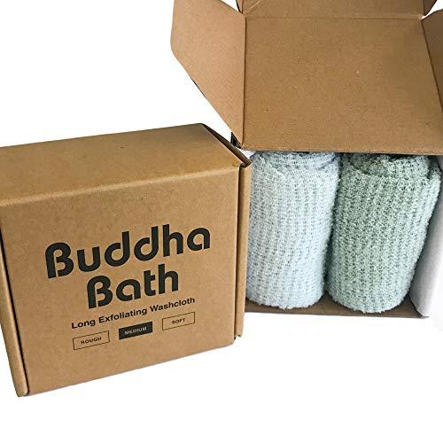 2 Pack - Buddha Bath Body Premium Long Exfoliating Asian Shower Bath Washcloth Towel - Face and Body - MEDIUM