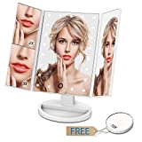 Giwox Miroir de Maquillage Eclairage Naturel à 21 LED lumineux Alimentation par Batterie ou Charge USB avec Triple Pliant de 2X / 3x /10X Grossissement et un Cadeau de Petite Miroirs de poche Blanc