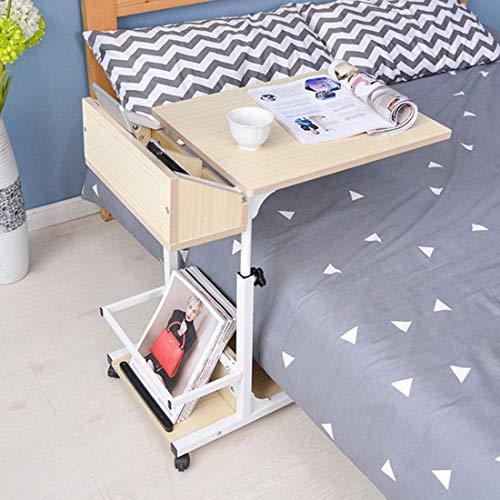 Decoración de muebles Mesa de sofá lateral Sofá Mesa auxiliar Mesa de centro extraíble Mesa de madera para computadora portátil Mesa de cama ajustable en altura con marco de metal Ruedas giratorias
