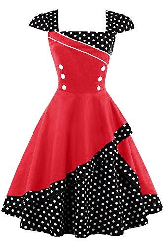 MisShow Damen 50er Hepburn Vintage Rockabilly Kleid Partykleider Petticoat Swing Ärmellos Knielang
