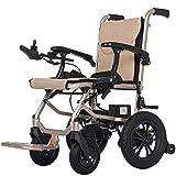 KAD Silla de ruedas eléctrica, plegable, ligera, 16 kg, ancho del asiento 45 cm, silla de movilidad con batería de litio extraíble, sillas de ruedas motorizadas, barandilla ajustable de 6 ar