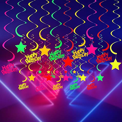 WILLBOND 30 Pieces Glow Party Supplies Hanging Swirl Decorations Happy Birthday Swirl Hanging Decorations for Birthday Party Neon Party Glow Party Ceiling Decorations