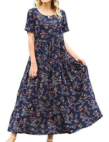 YESNO Women Casual Loose Bohemian Floral Dress with Pockets Short Sleeve Long Maxi Summer Beach Swing Dress (2XL EJF CR30)