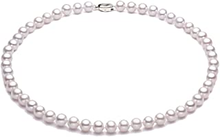 AAA Classic Round White Freshwater Pearl Necklace for Women Princess Length 18