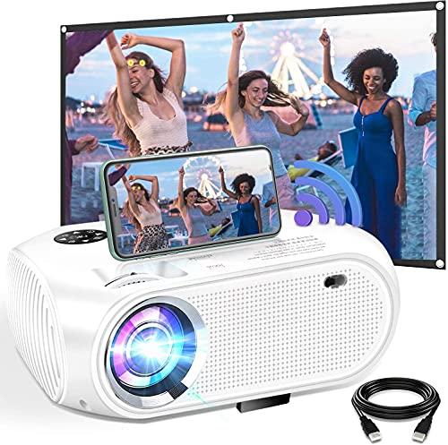 DOOK Proyector WiFi, 5500 Lúmenes Proyector WiFi Portátil Soporta Full HD 1080P Mini Proyector 720P Vídeo Proyector Cine en Casa Sonido Hi-Fi para Telefono/iPad/PC HDMI USB VGA SD PS4 (Blanco)