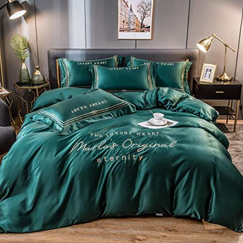 bettwäsche-Sets Baumwolle 220x240,60 Wasser Waschseide Vier-teiliges Sommer Eisseide ist von einem Bett Single Single Stickerei Nordic Bettwäsche Muttertagsgeschenk-DI_2,0 mt Bett Vier Teile