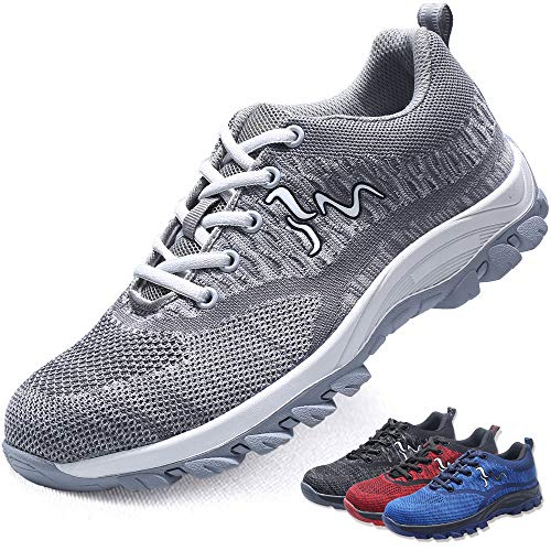 MAKEIIT Mens Safety Toe Sneakers Best Steel Toe Shoes for Men Construction Sneakers for Men Safety Work Shoes for Men Steel Toe