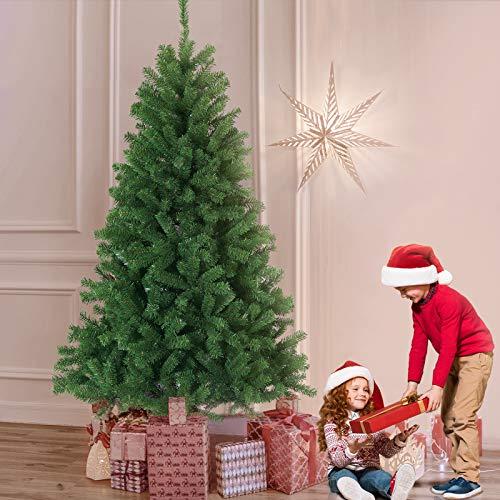 CANNYONLY 180cm künstlicher Weihnachtsbaum Tannenbaum Baum mit Metallständer schwer entflammbarer Christbaum Material PVC Weihnachtsdeko grün