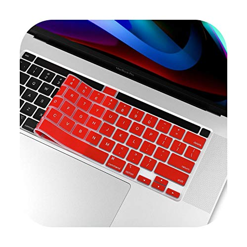 Keyboard Cover For MacBook Pro 13 16 2019 2020 A2338 M1 A2289 A2141 A2251 US Enter English Silicone Keyboard Protector Skin-Red-