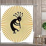 lovedomi Ilustración de la fertilidad dios Kopelli Dancing on Abstract Sun Background Cortina de ducha impermeable de tela de poliéster 183 x 183 cm Set de accesorios de baño