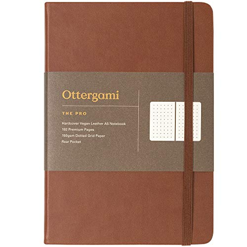 Notizbuch A5 dotted Bullet Journal | 150gsm Paper gepunktet | Luxus Dotted Notebook | The Pro von Ottergami (Braun, Dotted)