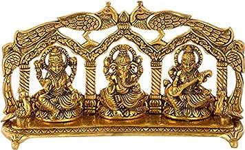 Goddess Laxmi Ganesha Saraswati Idol - Lakshmi Ganesh Murti Decorative Showpiece Decorative Showpiece - 14 cm (Aluminium, ...