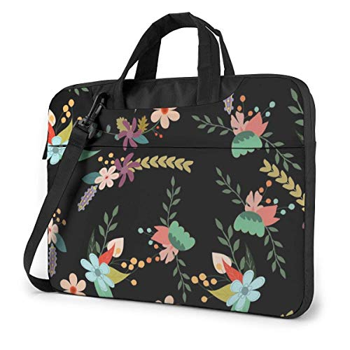 AOOEDM Laptop Case Computer Bag Sleeve Cover, Floral Design Multi Functional Waterproof Travel Tablet Shoulder Briefcase Shockproof Carrying Handbag in 13 14 15.6 Inch