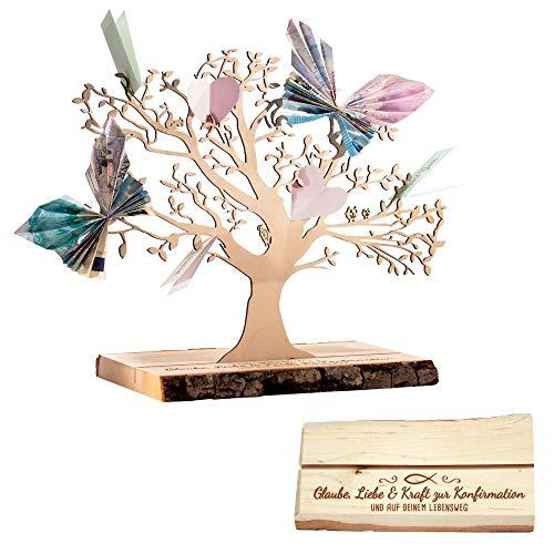 Casa Vivente Geldbaum aus Holz mit Gravur – Glaube, Liebe & Kraft – Erlenholz – Verpackung für Geldgeschenke – Dekoration – Lebensbaum – Geschenk zur Konfirmation – Klein