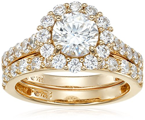 Amazon Collection Yellow Gold-Plated Sterling Silver Swarovski Zirconia Flower Halo Ring, Size 6