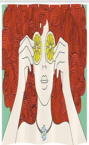 ABAKUHAUS Retro Schmaler Duschvorhang, Curly Ginger Haar-Mädchen-Zitrone, Badezimmer Deko Set aus Stoff mit Haken, 120 x 180 cm, Mehrfarbig