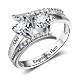 Personalized Promise Rings for Her 2 Simulated Birthstones Name Rings for Couples Mothers Rings for Mothers Day (6) (Silver, 8)