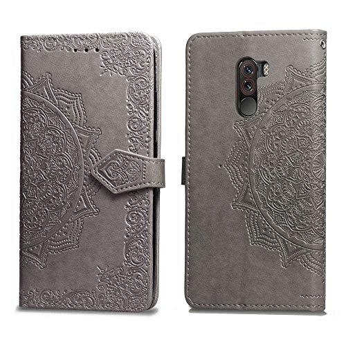 Bear Village Hülle für Xiaomi PocoPhone F1, PU Lederhülle Handyhülle für Xiaomi PocoPhone F1, Brieftasche Kratzfestes Magnet Handytasche mit Kartenfach, Grau