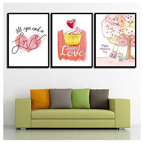 kaxiou canvas modulaire afbeeldingen gedrukte muurkunst IJs - brief liefde schilderij Nordic Creative Poster voor woonkamer Home Decoration 40X50Cmx3 Pcs geen lijst