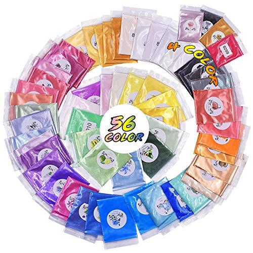 N/K Glimmerpulver, 60 Farben Epoxidharzpigment Seifenfarbstoff Natürliche Pigmente für die Seifenherstellung, Kerze, kosmetischer Lidschatten, Nail Art mit Löffel