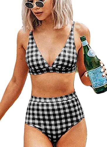 CheChury Mujeres Cintura Alta Conjunto de Bikini Push Up V Profunda Retro Celosía Control de La Barriga Traje de Baño de Almohadilla Extraíble