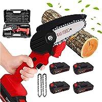 ミニチェーンソー4インチコードレス電気チェーンソー、予備バッテリー付きポータブル電気チェーンソー、剪定ばさみ電気ソー、庭の枝の木の切断用,red