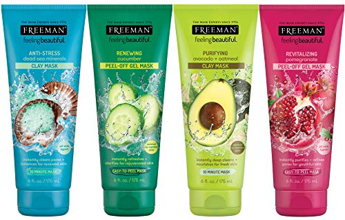 Freeman Facial Mask Variety Bundle for Skin Care, Peel Off Face Masks with Clay + Dead Sea Minerals 6 fl oz, 4 Pack