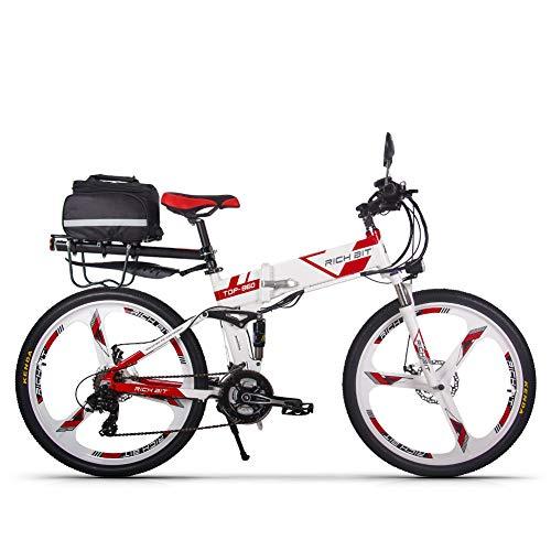 cysum Bicicleta eléctrica RT860 36V 12.8A batería de Litio Bicicleta Plegable Bicicleta de montaña 17 * 26 Pulgadas Bicicleta eléctrica Inteligente (Blanco-Rojo2)