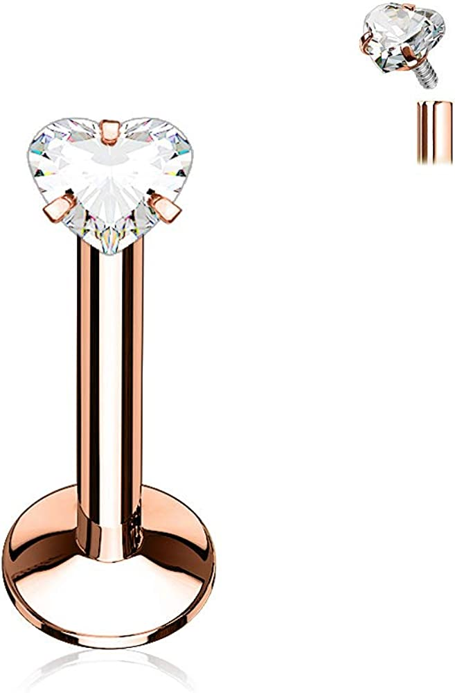 16G Stainless Steel CZ Crystal Heart Top Internally Threaded Flat Back Labret Monroe Lip Cartilage Helix Tragus Earring Stud