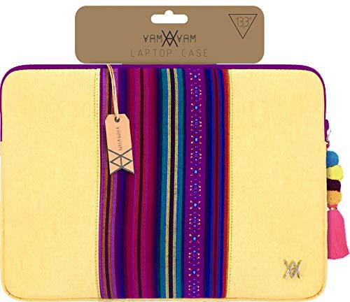 """VAMVAM Funda de portátil de hasta 14"""" color Amarillo con franja decorativa central de tela de colores de estilo étnico, Acolchada y Reforzada con Cremallera"""