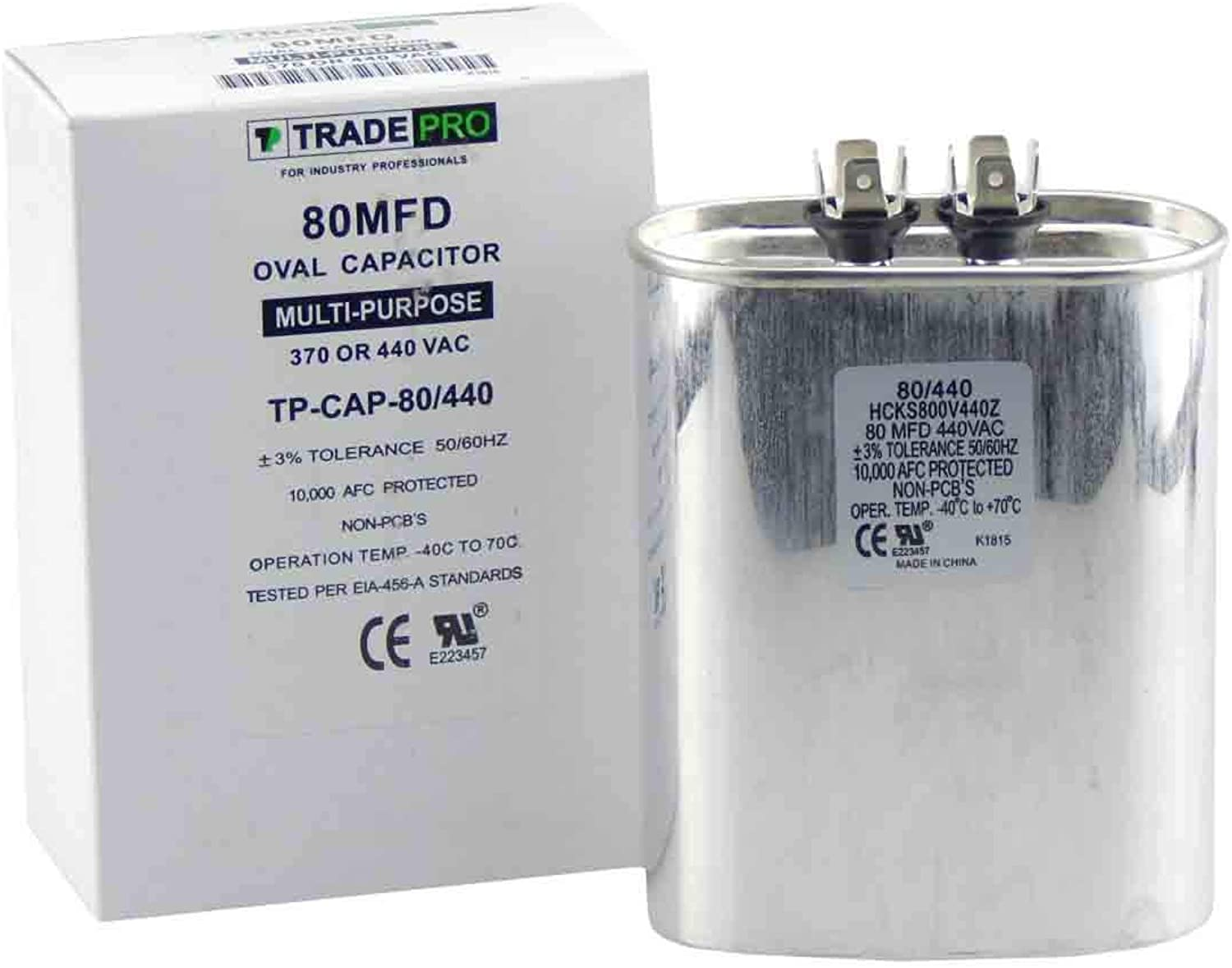 80 mfd Capacitor, Industrial Grade Replacement for Central Air-Conditioners, Heat Pumps, Compressors, Pool Pumps, etc Oval Multi-Purpose 370 440 Volt - by Trade Pro
