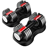 Adjustable Dumbbell 25 lbs with Fast Automatic Adjustable and Weight Plate for Body Workout Home Gym