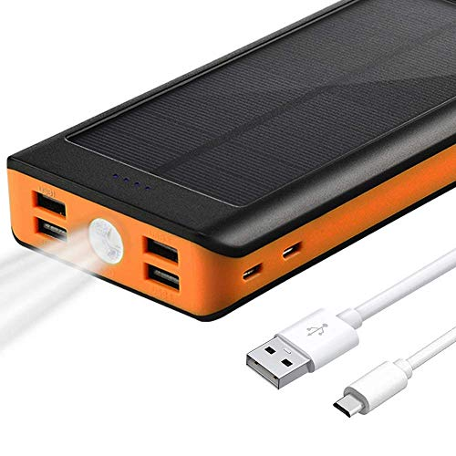 BONAI Solar Charger, 30000mAh Portable Charger 4.2A Input External Battery Pack, 5.8A Type C Output Power Bank with Flashlight Compatible iPhone, iPad, Samsung, LG More - Orange