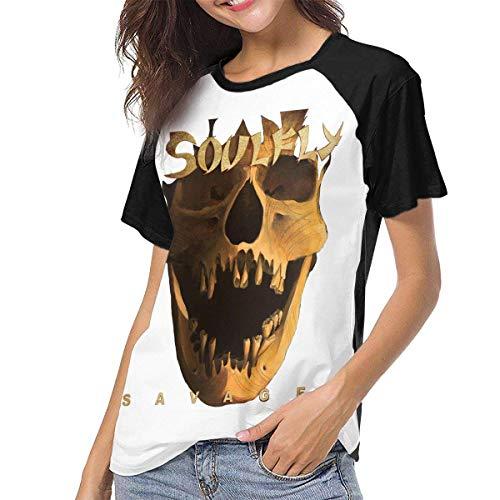 maichengxuan Soulfly Savages Shirt - Camiseta de béisbol de Manga Corta Retro para Mujer