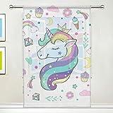 Cpyang, tenda velata con stelle, arcobaleno, unicorno, voile, tenda drappeggio per soggior...